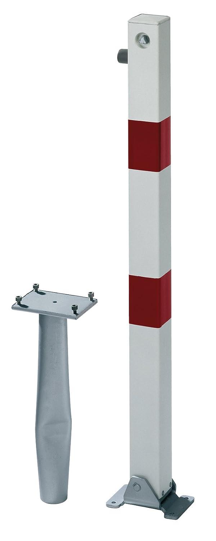 2refl.R GAH-Alberts 780968  Absperrpfosten Klappy-Bo umlegbar zum Einbetonieren wei/ß Profilzylinderschloss