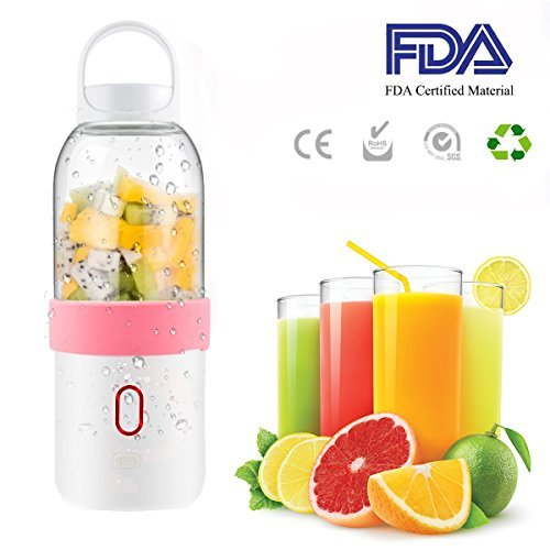 Juicer Cup Portable Fruit Mixing Machine USB Rechargeable Personal Size for Gym, travel, outdoors and family or work office.(550ML) Review