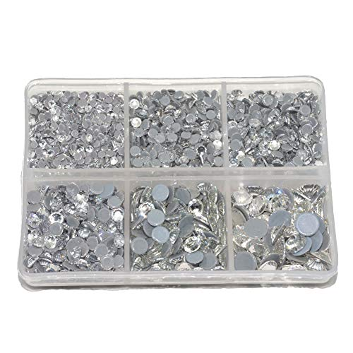 Queenme 3300pcs Clear Hotfix Crystals Mixed Size Flatback Rhinestones for Clothes Shoes Crafts Hot Fix Round Glass Gems Stones Flat Back Iron on Rhinestones for Clothing 2MM-6MM