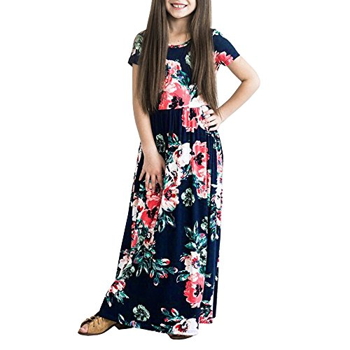 WensLTD Clearance! Girls Floral Flared Pocket Maxi Three-Quarter Sleeves Long Maxi Princess Party Dress (8T, Navy-1)