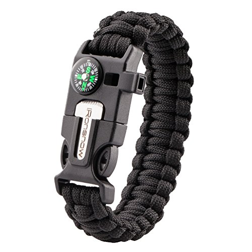 iRonsnow Emergency Paracord Bracelets Survival Gear, Flint Fire Starter, Whistle, Compass & Scraper/Knife|W, Wilderness Survival-Kit For Camping/Hiking/Boating/Sailing (Black)