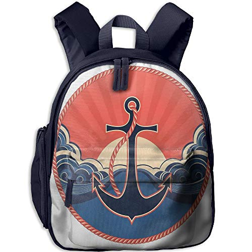 Haixia Students Boys&Girls School Backpack with Pocket Anchor Decor Navy Label with Robe and Sea Waves at Sunset Anchor Retro Sailing Aquatic Life Icons Full Red Blue Yellow by Haixia