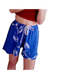 Yiwa Women Soft Cotton Loose Style Elastic Waistband Shorts Homewear Breathable Shorts blue M