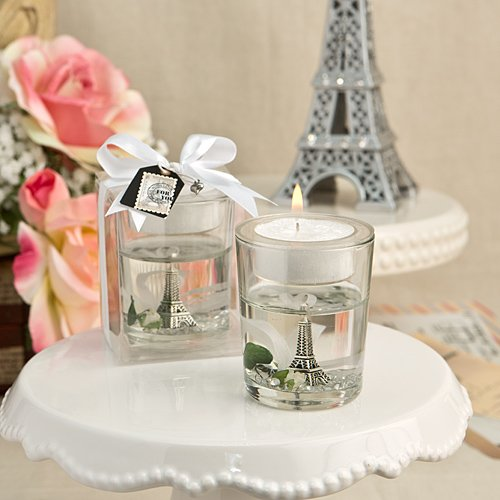 36 Eiffel Tower Gel Candle Holders with White Rose and Leaf Detail by Fashioncraft