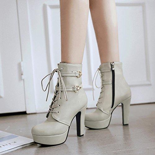 Latasa Womens Platform High Heels Short Oxford Boots Light Gray DEfboa6s1P