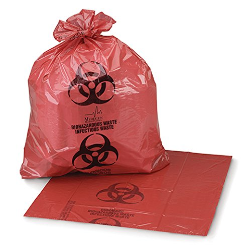 Medegen Medical Products 45-50 Red Biohazardous Waste Bags, 1.25 mil Gauge, 24'' x 24'' (Pack of 250) by Medegen Medical Products (Image #1)