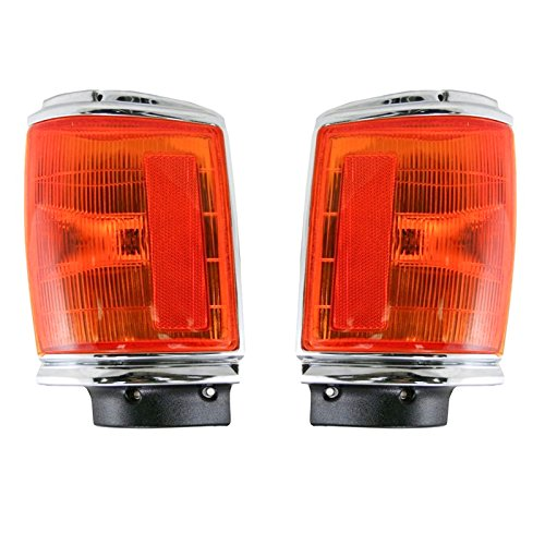 Chrome Marker Signal Corner Parking Light Pair Set for 87-88 Pickup Truck ()