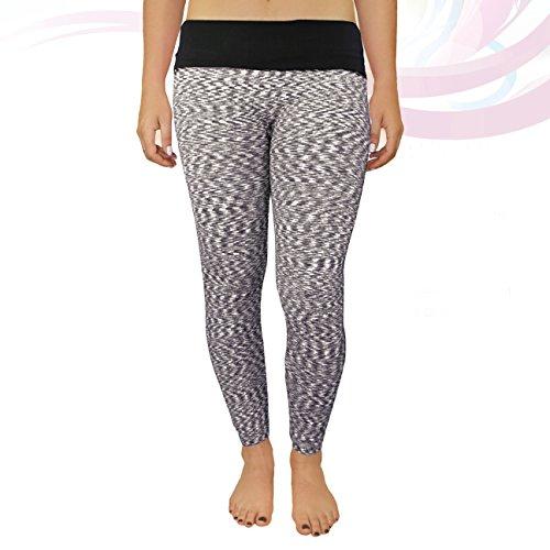Crush Womens Space Dye Fold Over Yoga Athletic Leggings Small Medium Black