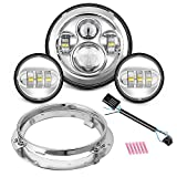 "Motorcycle 7"" LED Headlight for Harley Davidson Road King, Road Glide, Street Glide and Electra Glide,Ultra Limited with 4-1/2 LED Passing Lamps Fog Lights and Bracket Mounting Ring"