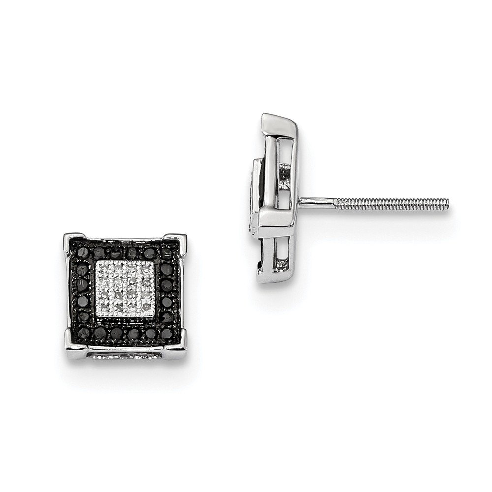 Sterling Silver Black & White Diamond Earrings