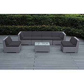 Ohana 7 Piece Outdoor Patio Furniture Sectional Conversation Set, Gray  Wicker With Gray Cushions   No Assembly With Free Patio Cover