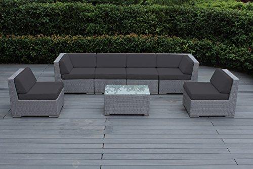 Ohana 7-Piece Patio Wicker Sofa Set, Dark Gray (Patio Collection)
