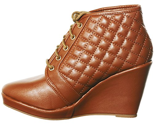 Fashion Lace Wedge Hi 01 Sneakers up Tan Top shoewhatever Women's Pl wq0p7XO