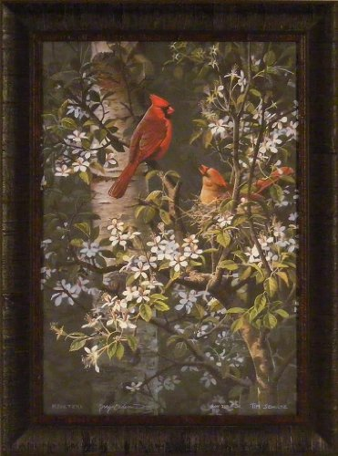 Spring Bonding by Gadamus, Zoellick, Kloetzke and Schultz 20x27 Cardinal Birds Nest Tree Framed Art Print