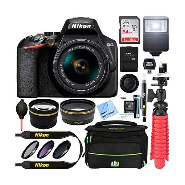 51ZM4WeX%2BrL. SS600  - Nikon D3500 24.2MP DSLR Camera with AF-P DX NIKKOR 18-55mm f/3.5-5.6G VR Lens Bundle with 64GB Memory Card, Camera Bag…