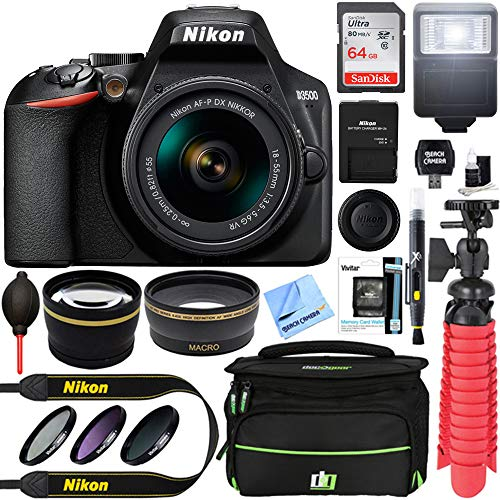 Nikon D3500 24.2MP DSLR Camera + AF-P DX 18-55mm VR NIKKOR Lens Kit + Accessory Bundle 64GB SDXC Memory + SLR Photo Bag + Wide Angle Lens + 2.2X Telephoto Lens + Flash +Tripod +Filters (Black)