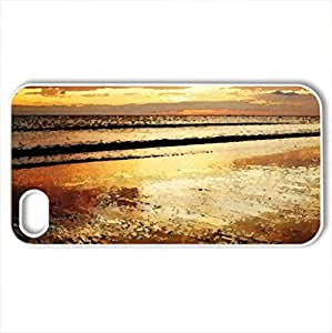 beautiful rust colored beach and sunset - Case Cover for iPhone 4 and 4s (Beaches Series, Watercolor style, White) by icecream design