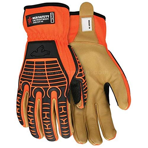 MCR Safety UltraTech Multi‑Task Goatskin Palm Diamond Tech Lined Cut Resistant Gloves, Medium (6 Pairs)