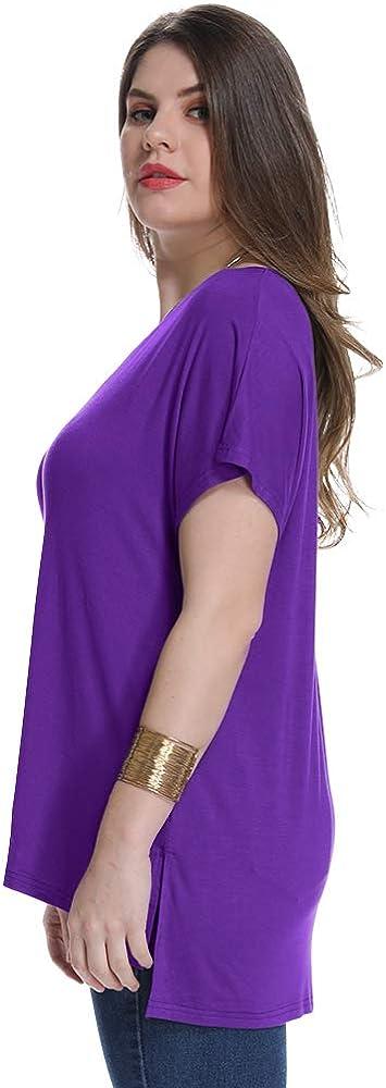 JollieLovin Womens Short Sleeve T Shirt V Neck Loose Tops with Side Split