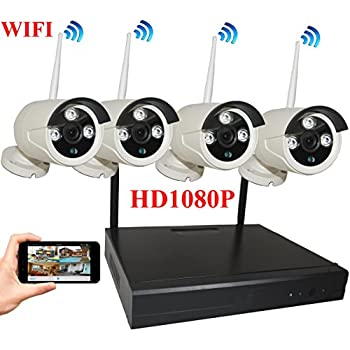Image of Home Security Systems 4UCam 8-Channel HD 1080P Wireless Network/IP Security Camera System (IP Wireless WiFi NVR Kits) Home Security Camera System Indoor Outdoor 4 Camera