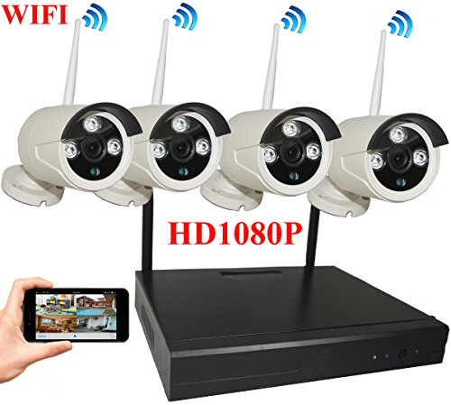 4UCam 8-Channel HD 1080P Wireless Network/IP Security Camera System (IP Wireless WIFI NVR Kits) Home Security Camera System Indoor Outdoor 4 Camera (Home Network Kit)