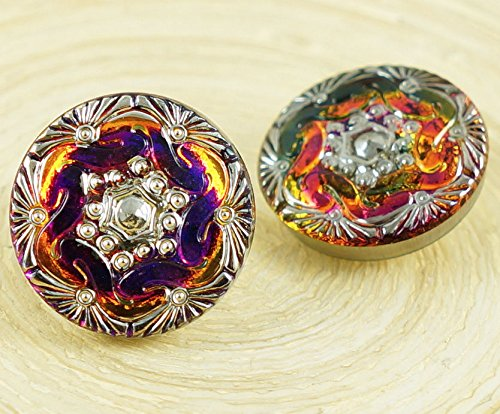 1pc Vitrail Dichroic Volcano Purple Silver Spiral Pattern Round Handmade Czech Glass Button Size 8 18mm