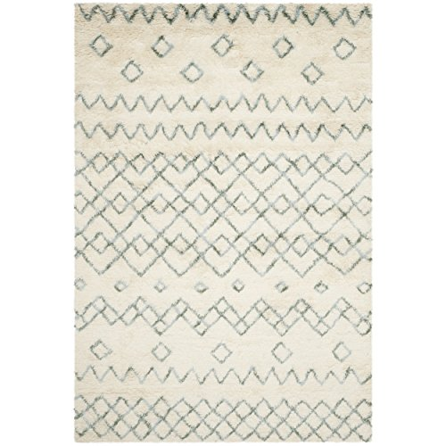 Safavieh Casablanca Shag Collection CSB806A Handmade Ivory and Blue Premium Wool & Cotton Area Rug (4′ x 6′) Review