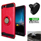 Phone Case for ZTE Zfive-G/ZTE Blade-Vantage (Verizon) / ZTE Avid-557 / ZTE Avid-4 / ZTE Tempo-X Air Vent Magnetic Car Mount with Finger Holder Cover (Ring-Stand Red-Black/Magnetic Car Mount)