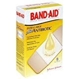 Band-Aid Brand Adhesive Bandages, Plus Antibiotic, Extra Large, 8-Count All-One-Size (Pack of 6)