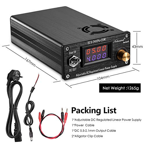 Nobsound 25W USB DC5V-24V Adjustable DC Regulated Linear Power Supply HiFi  Audio