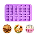 Food Grade Silicone Puppy Dog Paw and Bone Silicone Mold, IHUIXINHE Ice Cube Mold, Chocolate Mold, Candy Mold, Cupcake Baking mold, Muffin pan, 2 Pack Set (Puppy)