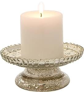 Luna Bazaar Mercury Glass Pillar Candle Holder (2.5-Inch, Silver, Diamond Design)