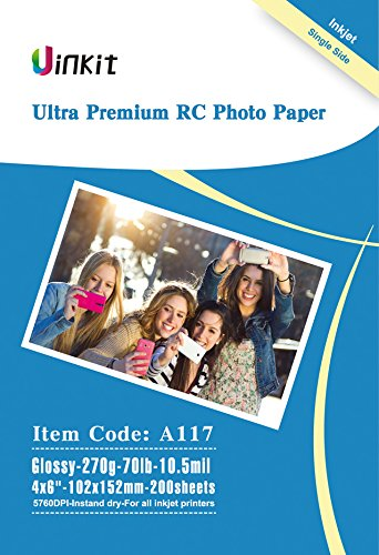 (RC Ultra Premium Photo Paper - 4x6 High Glossy Photographic Paper 100% Waterproof - Uinkit 200Sheets For Inkjet Printing)