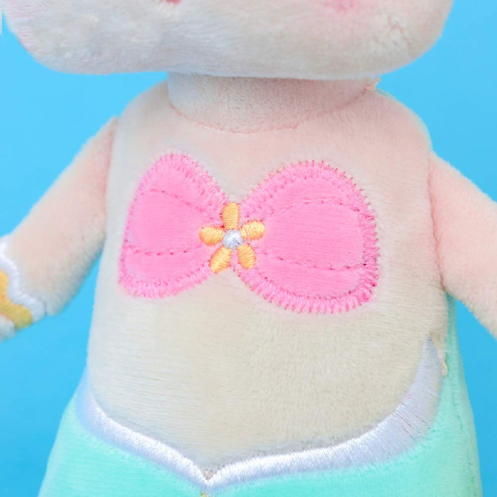 SANDAO MeToo Plush Toys Mermaid Stuffed Animal Toys Angela Plush Rabbit Stuffed Gift Dolls for Kids Children 15 Inch (2 Pack Pink+Green)