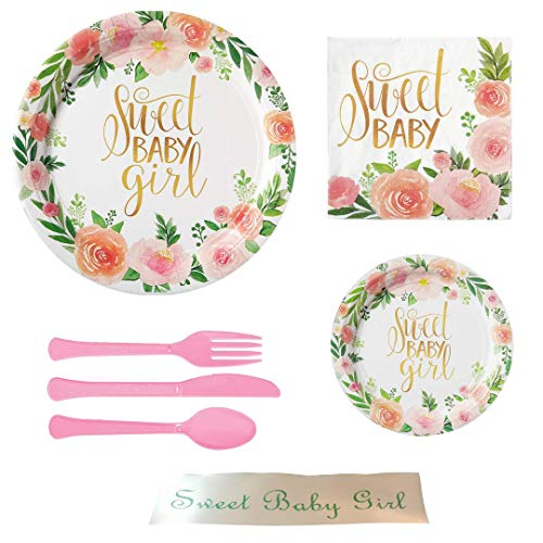 Shower Pink Floral Party Supply Bundle with Bonus Printed Ribbon ()