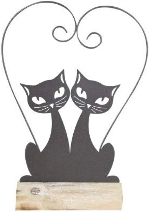 CAPRILO Figura Decorativa de Madera y Metal Pareja Gatos Love. Adornos y Esculturas. Animales.Decoración Hogar. Regalos Originales. 34 x 25 x 7 cm.: Amazon.es: Hogar
