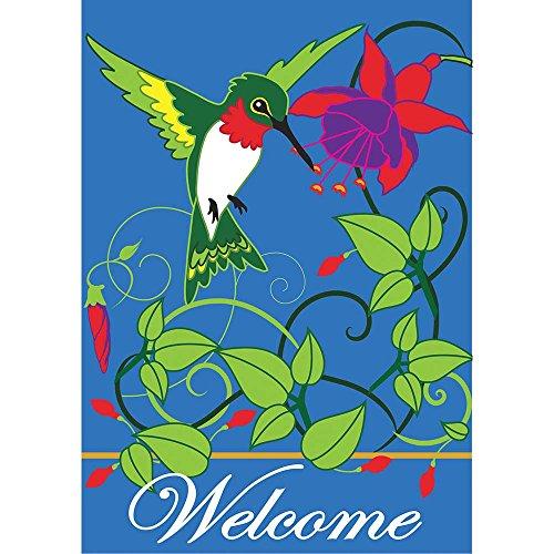 (Welcome Hummingbird Trumpet Flowers 18 x 13 Rectangular Double Applique Small Garden Flag)
