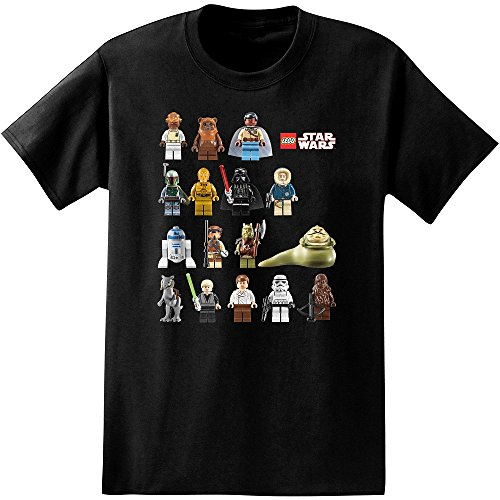Lego Star Wars Characters Adult T-Shirt (Large) Black