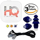 Reusable earplugs with filter, cord and travel case - sleep noise cancelling - sound blocking ear plugs for shooting, airplane, snoring - protection for swim, musician concerts, industrial work (Blue)