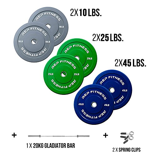 Rep Bar and Color Bumper Plate Package, 160 lb Set with 20kg Gladiator and Spring Clips