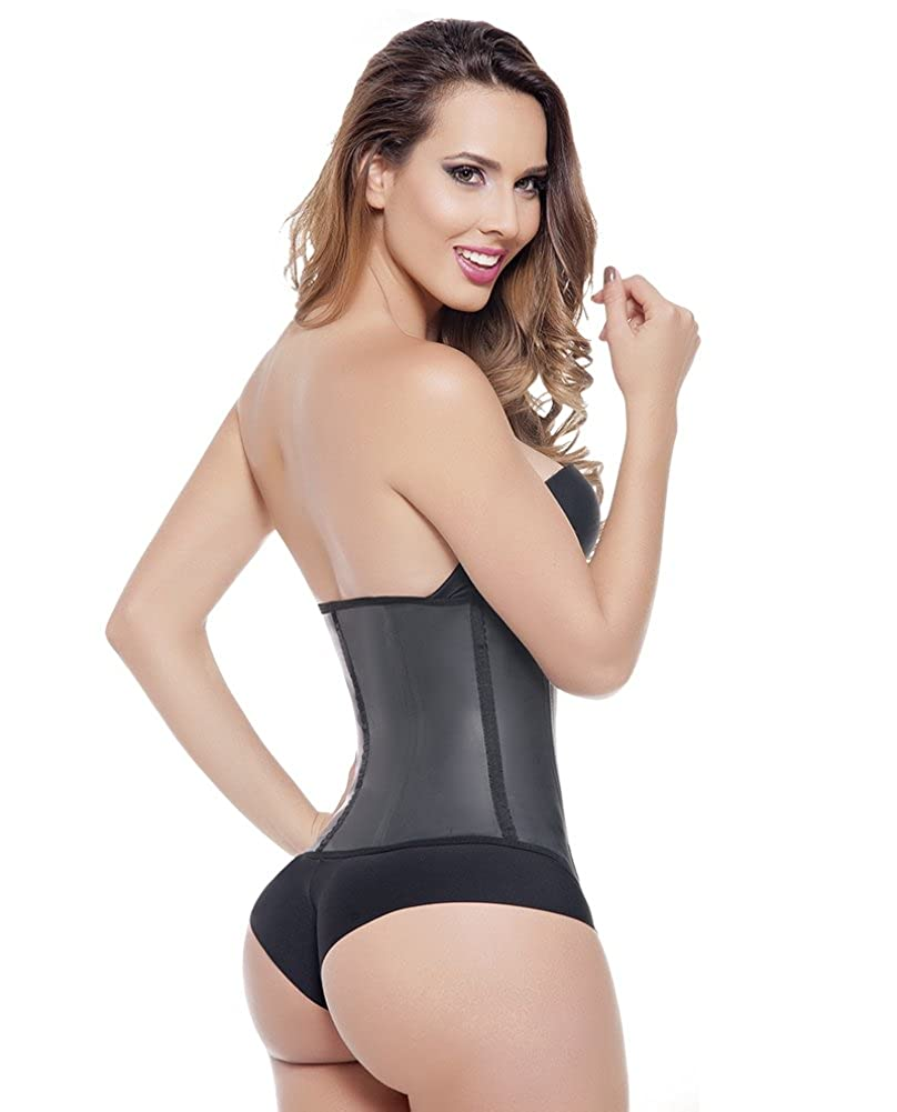 7ac192da1b Fajas Colombianas Ann Michell Invisible Latex Waist Trainer with Invisible  Flat Front Zipper at Amazon Women s Clothing store