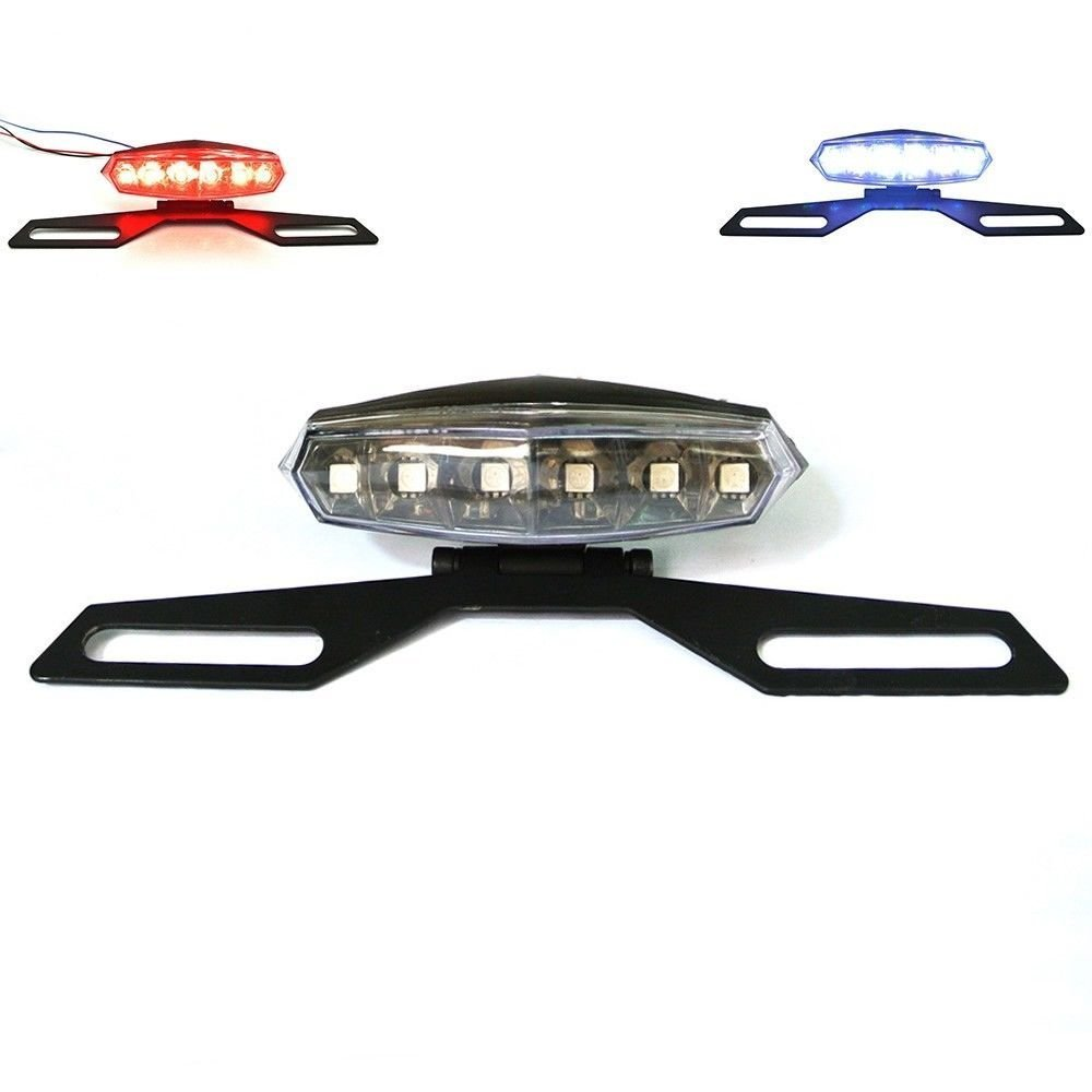 PerfecTech License Plate Mount Holder Bracket With 6 LED License Plate Light Lamp And Brake Tail Light Features for Motorcycle Dirt Bike ATV,etc