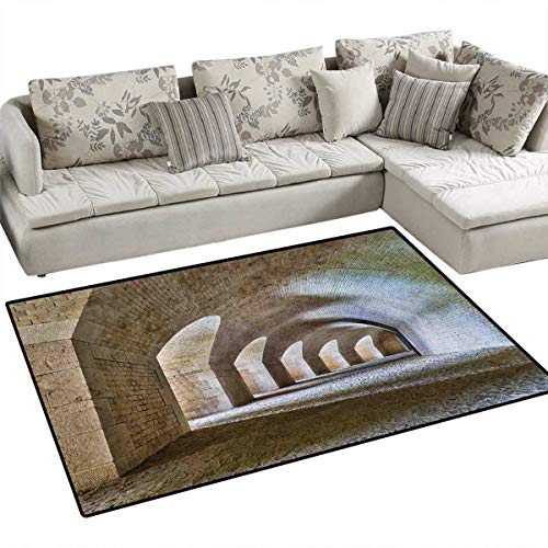 Medieval Room Home Bedroom Carpet Floor Mat Castle Tunnel Interior with Arches in a Bastion Fortress Historical Design Floor Mat Pattern 40