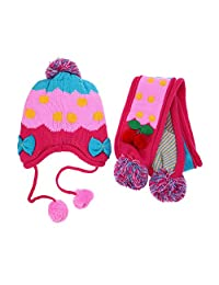 Baby Kids Scarf and Hat Gloves Set Cute Cartoon Cotton Knitted Scarf