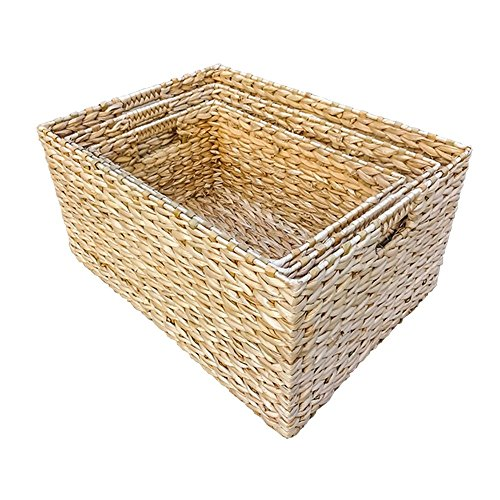 Set of 3 Rectangular Water Hyacinth Storage Baskets by Red Hamper