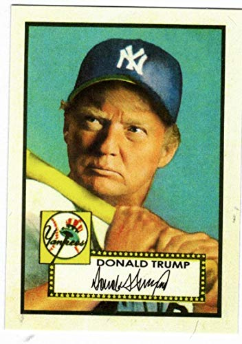 (Donald Trump Mickey Mantle 1952 Topps Style Baseball Card )