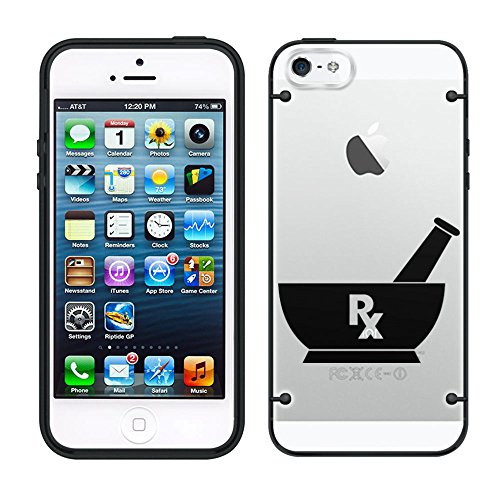 iPhone 5C Silhouette Pharmacist Pharmacy RX on Clear with Black Trim Case