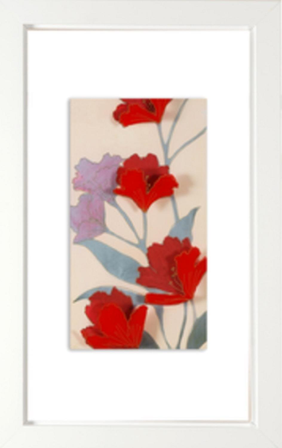 24'' Red Poppy Flower Print with White Border Decorative Wall Art by Diva At Home
