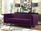 Cheap Iconic Home Kent Elegant Velvet Modern Contemporary Plush Cushion Seat Round Acrylic Feet Sofa, Purple