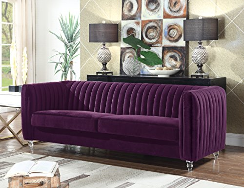 gant Velvet Modern Contemporary Plush Cushion Seat Round Acrylic Feet Sofa, Purple ()
